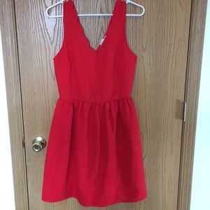 Red Scalloped Chest Dress